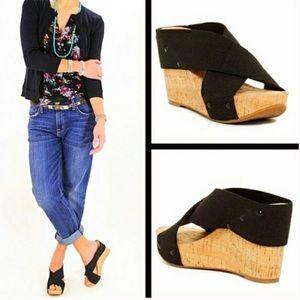 """[Lucky Brand] 🍀""""Miller"""" Black cork wedge sandal"""